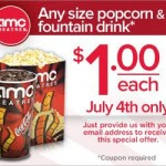 AMC $1 popcorn and fountain drinks plus $4 movie tickets