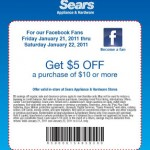 Save $5 off a $10 purchase at Sears Appliance & Hardware stores!