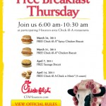Houston readers: Free breakfast at Chick Fil A tomorrow!