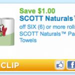 Walgreens:  Scott Naturals paper towels – $.50/roll!