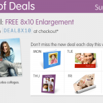 Walgreens:  get a free 8X10 photo enlargement!