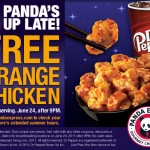 Panda Express:  Free orange chicken on 6/24