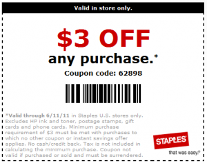 Staples printable coupon oct 2018