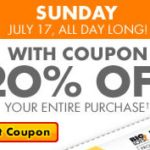 Big Lots:  Save 20% off your entire purchase!