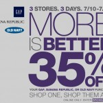 Gap, Old Navy, Banana Republic:  Save 35% off online + 10% cash back!