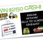 Back to School Giveaway:  $250 cash from Ebates