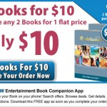 Entertainment Books:  2 for $10 + 17.5% cash back = just $4.12 each!