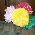 Grandparent's Day Gifts on a Budget:  Tissue Paper flowers
