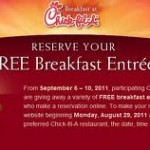 FREE Breakfast from Chick Fil A:  Reserve a spot now!