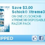 Schick Xtreme3 razors as low as $1.99 each after coupon!