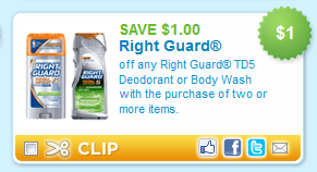 Get Right Guard Deodorant for just $/each at Walmart! To score this deal, buy three Right Guard Best Dressed Alpha Deodorant for $/each. Then use a B2G1 Free Printable Coupon or Newspaper Coupon for a final price of just $/each! You can also get Right Guard Xtreme oz Deodorant for $/each using the same coupon.