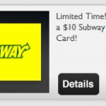 Get a $10 Subway or CVS gift card for just $6.99!