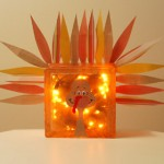 Thanksgiving Craft: Glass Block Turkey