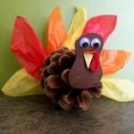 Thanksgiving Craft: Pinecone Turkey