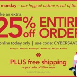 Carter's Cyber Monday Sale:  25% off your total purchase + free shipping!