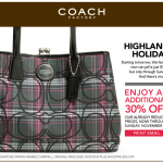 Printable coupon alert:  Save 30% off at Coach Outlet!