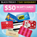 Win a $50 gift card for Black Friday:  Toys 'R Us, Amazon, Target, and more!