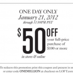 HOT:  $50 off a $100 purchase at Ann Taylor LOFT (today only!)