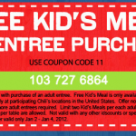 FREEBIE ALERT:  Kids eat FREE at Chili's through 1/4!