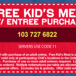 Chili's:  Kids Eat Free (2/21 and 2/22)