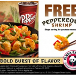 FREEBIE ALERT:  Free Peppercorn Shrimp at Panda Express on 2/22