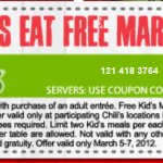Chili's:  Kids eat free 3/5-3/7!