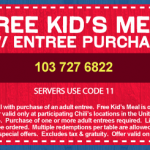 Chili's:  Kids eat free 3/26-3/28!
