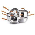 HOT DEAL:  Rachael Ray Stainless Steel 10-Piece Cookware Set, Orange (68% off)