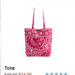 Vera Bradley 50% off sale:  Call me Coral and Twirly Birds Pink lines! (ends 3/11)