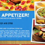 Chili's:  Free Appetizer (valid through 5/23!)