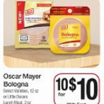 Oscar Mayer lunch meat:  $.20 each after catalina at Kroger!