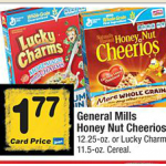 Randalls or Safeway Stores:  Cheerios or Lucky Charms only $1.27 each after coupon!