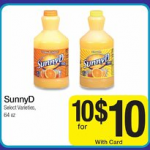 Sunny D for $.72 each after coupon at Kroger!