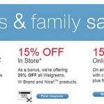 Walgreens Friends & Family Sale:  Save up to 20% off (8/29 only)