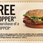 Burger King:  Lots of new BOGO free printable coupons!