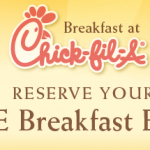 FREE Chick-fil-A breakfast entrees in select cities!