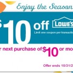 Lowe's FREE $10 off coupon offer!