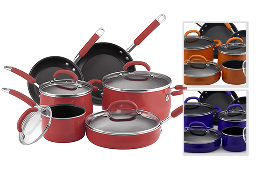 This Rachael Ray cookware set was a good value for the price and additionally very nice looking. Silicone handles provides an easy grip that doesn't get as hot as other pots or pans I've used.