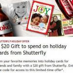 Shutterfly:  $20 credit for My Coke Rewards members!