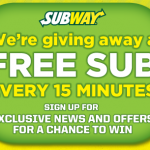 Subway Text to Win Sweepstakes:  Win a $6 Subway gift card (96 winners daily)