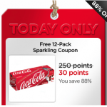 My Coke Rewards:  FREE 12 pack Coke Products coupon only 30 points!