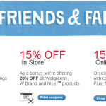 Walgreens Friends & Family sale:  Save up to 20% off!
