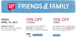walgreens-friends-family-sale