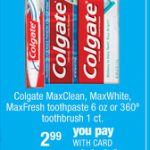 CVS Freebies:  Free Colgate, Crest, and Venus razor!