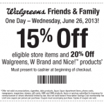 Walgreens Friends & Family Sale today only!