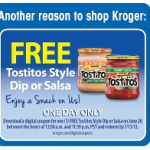 Free Tostito's Dip or Salsa from Kroger Stores Today only!