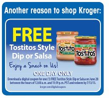 free Tostitos salsa at Kroger