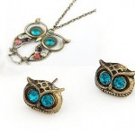 Vintage Crystal Owl Charm Necklace and Earrings only $.80 shipped