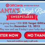 Santa's Sleigh Ride Instant Win Game:  100 Target gift cards daily!