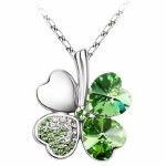 Crystal Four Leaf Clover Pendant Necklace only $1.99 shipped!